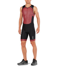 2XU Perform Combinaison avec avec zip frontal Homme, black/kona team red